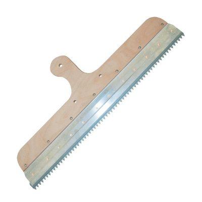 Klemmleisten-Rakel zur Aufnahme von Zahnleisten mit 560 mm Breite, mit vorgebohrten Löchern für Stielhalter-Montage