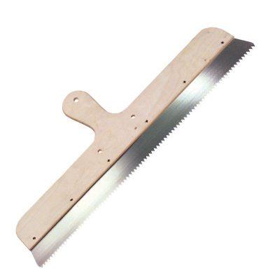 Zahnrakel mit V-Zahnung fest montiert an Holzgriff