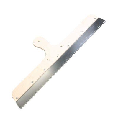 Zahnrakel mit Trapez-Zahnung, fest montiertem Holzgriff, Lochbohrungen für Stielhalter
